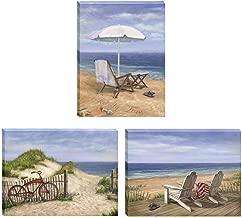 Trendy Decor4U 3-Pc Vignette Sand Beach Designs Wall Art