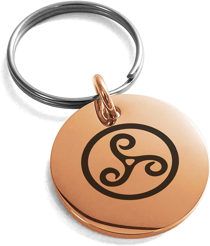 Rose Gold Plated Stainless Steel Celtic Triskele Triskelion Symbol Small Medallion Circle Charm Keychain Keyring