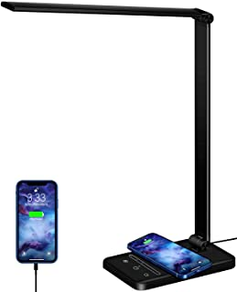 LED デスクライト 置くだけ充電 Qiワイヤレス充電 対応 USB充電ポート付 スマホ充電 急速充電 電気スタンド スタンドライト 5種類色 調光6段階 目に優しい メモリー機能 勉強 読書 仕事