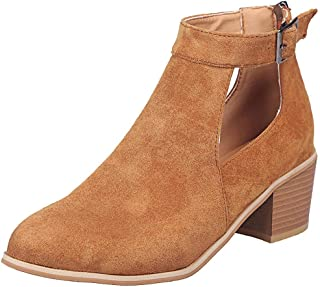 e3b40d13e3ee2c TOPKEAL Sandales Femme, Printemps Été Chaussures Bottines à Talons carrés  Bottes rétro décontractées Boucle Chaussures