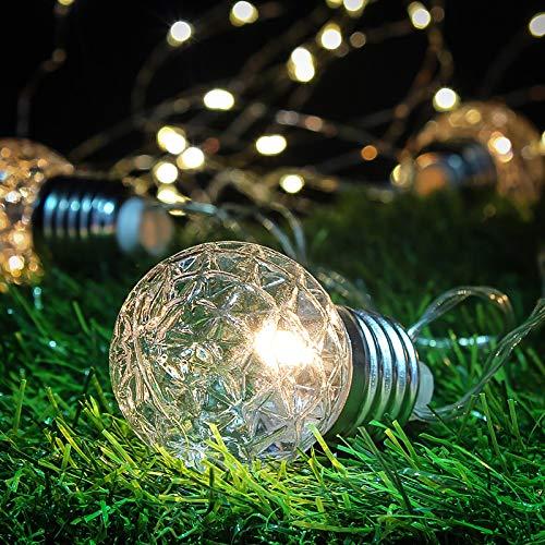 Cadena de luz solar para jardín – Cadena de luces para exteriores – Bombilla decorativa de piña al aire libre – Bombilla de luces LED con cadena de luz de globo