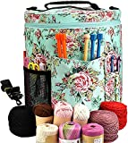 Large Capacity/Portable/Lightweight Yarn Storage Knitting Tote Organizer Bag with Shoulder Strap Handles Looen W/Pockets for Crochet Hooks & Knitting Needles … (Peony Flower)