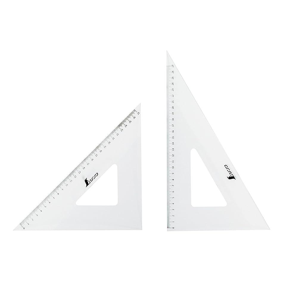 サバント個性バンジージャンプシンワ測定 三角定規 アクリル 目盛付き 2枚組 30cm 75264