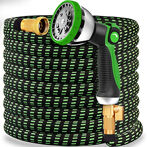"""Expandable Garden Hose 50FT Water Hose with 10 Function Nozzle and Durable 4-Layers Latex, Extra Strength 3750D Flexible Hose with 3/4"""" Solid Brass Fittings and High Pressure Water Spray Nozzle Hoses"""