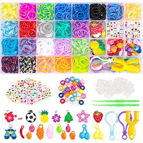 Kids Craft Kits for Girl Age 6 7 8 9 10,Jewelry Bracelets Making Kit Gift for 6-10 Year Old Girls Kids Bracelet Toy Loom Kits Birthday Gift Age 6 7 8 Girl Boy Rubber Bands Bracelets for Child