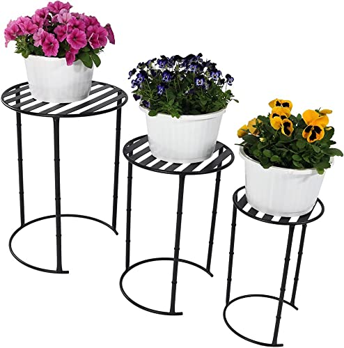 discount Sunnydaze Modern Nesting Metal Plant Stand, Sturdy Indoor/Outdoor 2021 Flower new arrival Pot Holder, 22 Inch Tall, Set of 3, Black sale