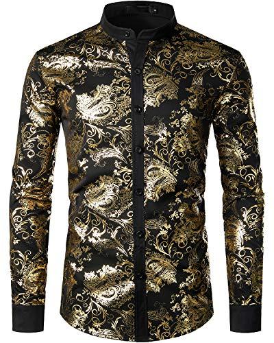 JOGAL Herren Henley Shirt Metallic Gold Paisley Hemd X-Large A357 Gold