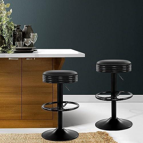 Artiss Set of 2 Swivel Adjustable Leather Bar Stool, Black