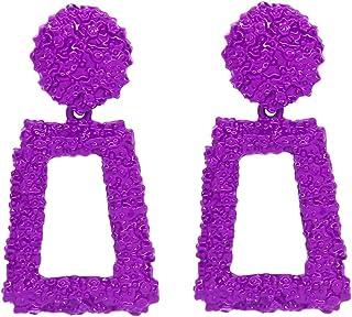 WPY Raised Design Geometric Rectangle Drop Dangle Statement Fashion Earrings