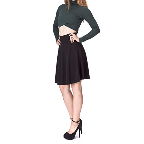 e4dc76326c Dani's Choice Simple Stretch A-line Flared Knee Length Skirt