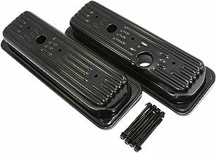 Assault Racing Products A7458PBK9812PBK Chevy GMC 4 3L V6 Baffled Short Style Center Bolt Steel Valve Covers Kit Black