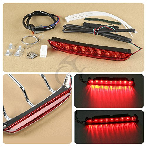 XFMT Air Wing Tour Pack Luggage Rack LED Tail Light Compatible with Harley Road King Glide 1993-2013