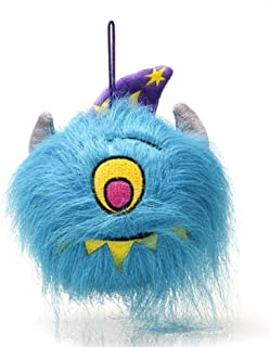 Plushland Silly Plush Ball Toy Screamer Goofy Scary Bright Color Halloween Trick or Treat Hat Elastic Hanger Decorator Fun Spooky Cyclops Teal Monster Blue Eye Teeth Witch Alien Stuffed Animal Gift