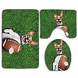 Perro de fútbol con una pelota de rugby y riendo a carcajadas Divertida imagen de broma cómica Imprimir 3 piezas Juego de alfombras de baño WC Alfombrilla de contorno del piso Tapa de la tapa del inod