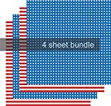 Stars and Stripes Vinyl, Flag Adhesive Vinyl, 4th of July, Red White Blue, 4-12'x12' Sheet Bundle