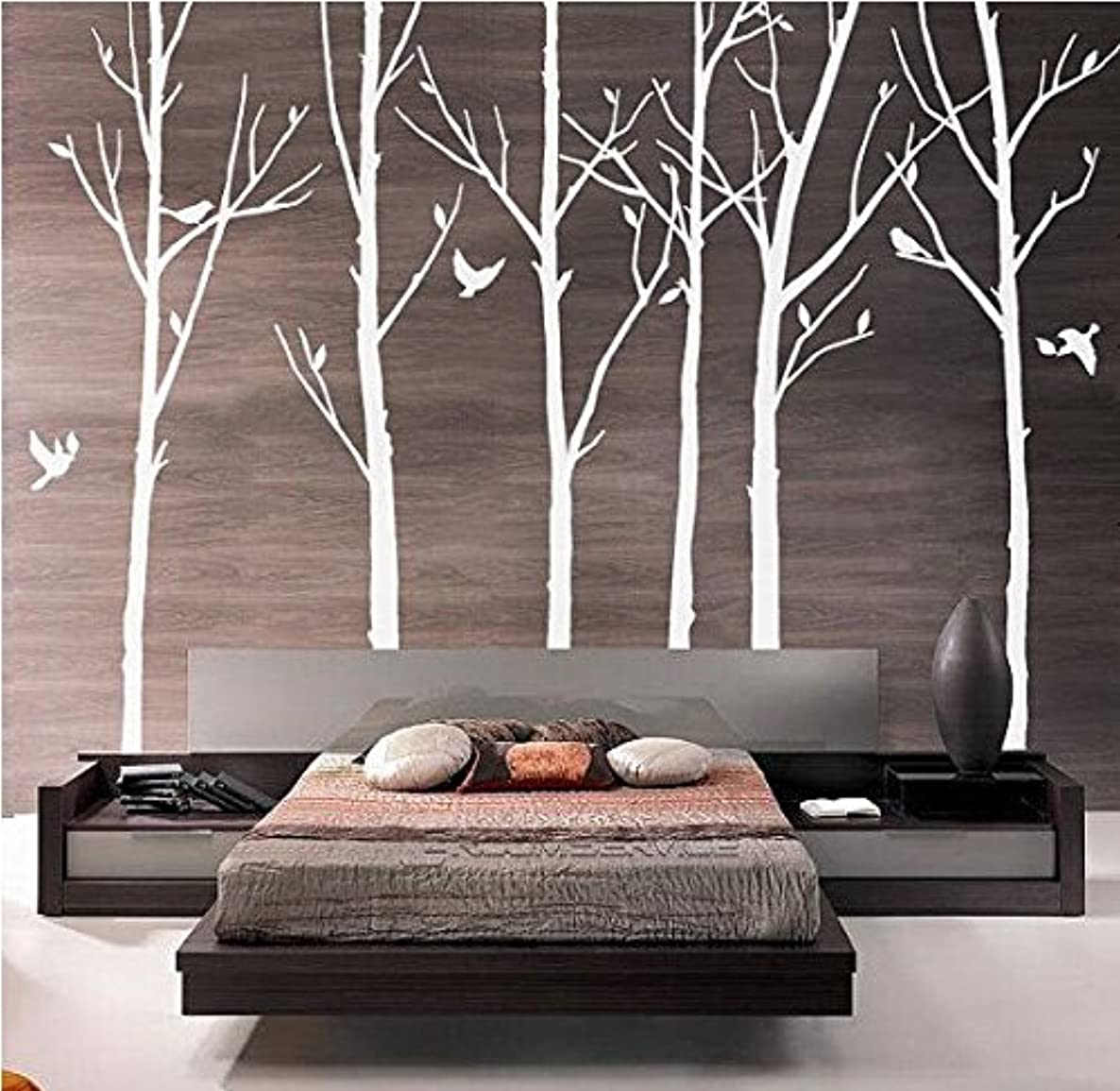 Set of 6 Tree Branch Wall Decal Birch Tree Wall Decal with Birds White Tree Wall Decal Nursery Wall Stickers Tree for Living Room