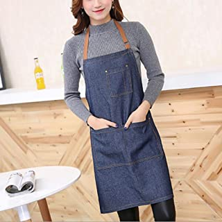 Apron,Dark Blue Denim Aprons Simple Antifouling Pinafore Unisex Adult Aprons for Woman Men Baking Restaurant Kitchen Cooki...