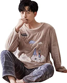 Winter Warm Pajamas for Men Flannel Pajamas Set Comfortable Home Clothing Long Sleeve Sleepwear Nightwear (Color : Beige, Size : L)