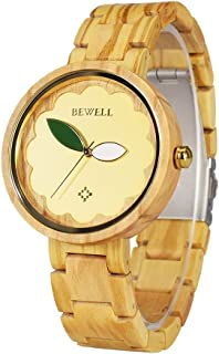 Bewell Women Wooden Watches Minimalist Lightweight Analog Quartz Wristwatch for Ladies with Wood Bracelet