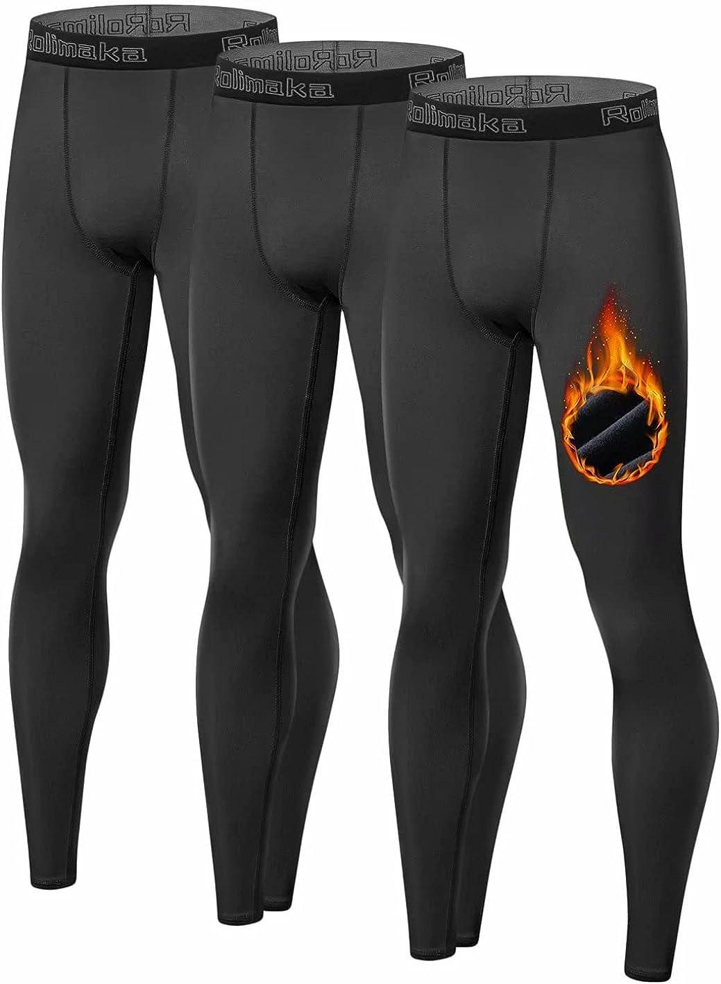 Youth Boys' Thermal Compression Leggings Sports Tights Fleece Lined Pants Big Kids' Base Layer (NO Fireball On Leg)