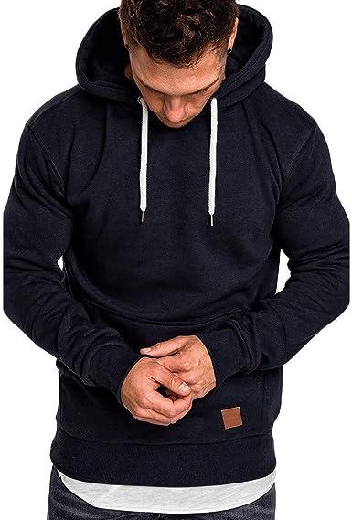 Sudaderas Hombres con Capucha Ropa Deportiva Hombre Manga Larga Sudadera Casual Camisa con Bolsillo Color Sólido