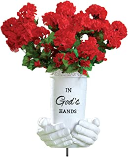 In God's Hands Memorial Flower Vase Ground Stake