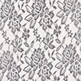 Fabulous Fabrics Spitze grau, Blume, 150cm breit –