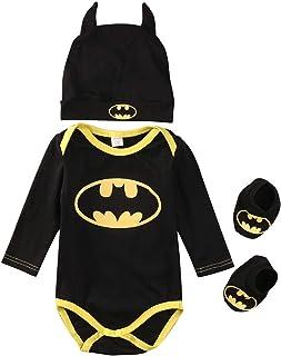 Grenouillère Batman 3 pièces pour nouveau-né garçon fille Tenue d'Halloween Hauts + Chaussures + Chapeau Cadeau Batman