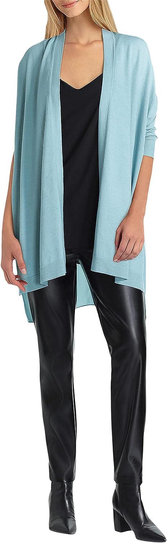 H Halston Long Sleeve Drape Mix Media Cardigan Mineral Blue MD