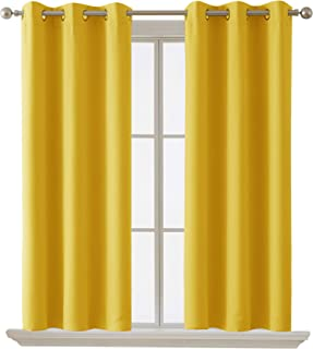 Deconovo Blackout Curtain Room Darkening Thermal Insulated Curtains Grommet Window Curtain for Bedroom Mellow Yellow 38 x ...