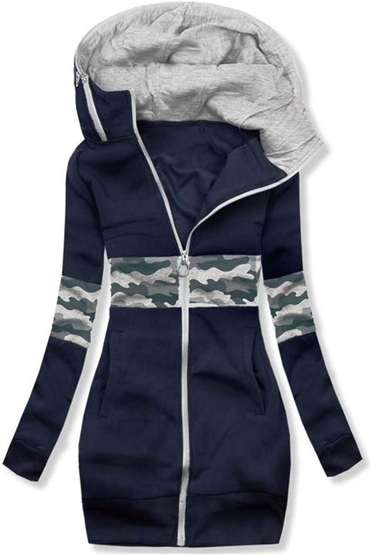 MRULIC Damen Kapuzenpullover Sportswear Outwear Langarm Warm Bequem Kapuzenjacke Herbst Winter Sweatshirt Mantel Jacke Tops Hoodie Sportswear Kapuze Sweatjacke A5-marine