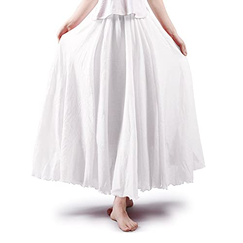 a546e6c98f OCHENTA Women's Bohemian Elastic Waist Cotton Floor Length Skirt, Flowing  Maxi Big Hem