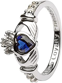 September Birth Month Sterling Silver Claddagh Ring LS-SL90-9. Made in Ireland.