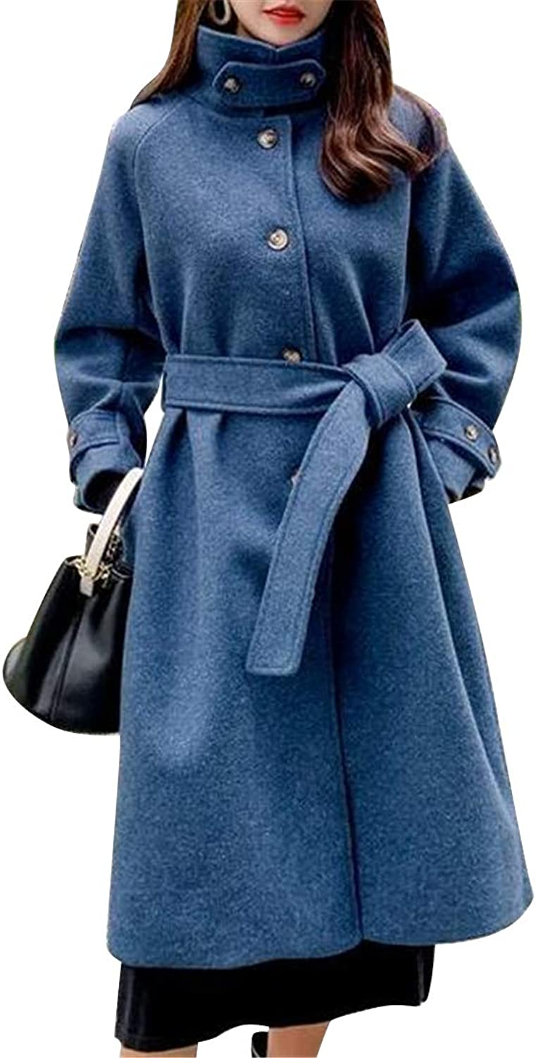 Fubotevic Women Belted Single Breasted Classic Wool Blend Turtle Neck Slim Trench Jacket Pea Coat Overcoat