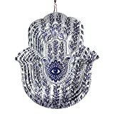 FONMY Wind Spinner Mandala Hamsa Lucky Hand with Leaves 12 inch 3D Stainless Steel Laser Cut Metal Art,Hanging Wind Spinner, Kinetic Yard Art Decorations - Indoor/Outdoor Décor