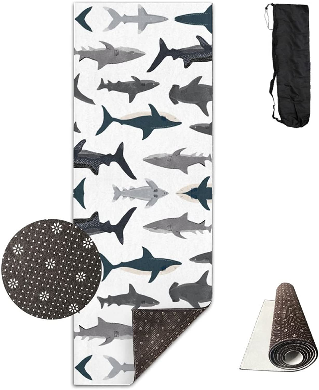 HHHSSS Long 70inch Wide 28inch Non Slip  Shark Sharks Nautical Boys Exercise Mat for Yoga, Workout, Fitness with Carrying Strap & Bag
