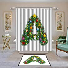 Kenneth Camilla01 Shower Curtain Letter A,Tree Star from Winter Celebrations Praying Angel Mini Stars Letter A Font Concept,Multicolor,Water Resistant Decorative Bathroom Fabric 62