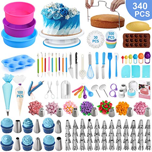 Cake Decorating Supplies,OCOOKO 340 Pcs Cake Decorating Kit with Silicone Cake Pans,Cake Rotating Turntable,48 Piping Icing Tips,7 Russian Nozzles,Muffin Cup Mold,Cake Baking Tools for Cake Lovers
