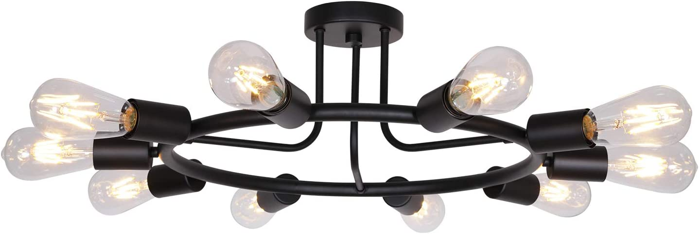 Mid Century LOMPOC Industrial Modern UL Listed Matte Black Semi Flush Ceiling Light Sputnik