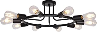 BONLICHT Vintage Metal Large Sputnik Chandeliers 10-Light Flush Mount Light Fixtures Ceiling Black Indoor Industrial Chandelier Lighting Mid Century Modern Starburst-Style Lighting Fixture UL Listed