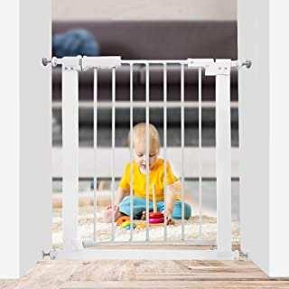 White, 24.02-27.95 Xifamniy Extra Wide Walk Through Baby Gate Pressure Mounted 24.80-81.50inch White Metal Pet Child Safety for Door,Hallway,Stair