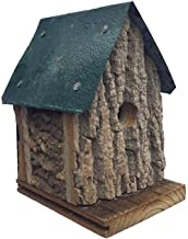 product image for Furniture Barn USA Cabin Style Hanging Wren Bird House in Bark Wood - Red or Green Roof