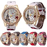 CdyBox Wholesale PU Leather Strap Watch 6 Pack Mother Day Gift Bling Rhinestone Accented Eiffel Tower Ladies Women Watches