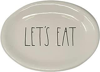 Rae Dunn Magenta Ceramic Plate Oval Let's Eat