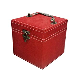 KTYXDE Fashion Flannel Jewelry Box Princess Flannel Three-Layer Creative Storage Gift Box Small Jewelry Flannel Box Cosmetic case (Color : Red)