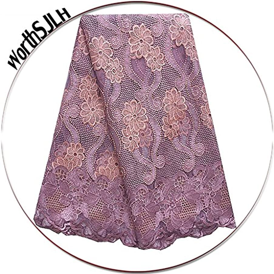 WorthSJLH Tulle African Lace Fabric Lilac Net Lace Fabric 5 Yards 2018 Latest French Nigerian Lace Fabrics with Beads and Rhinestones LF854 (Lilac)