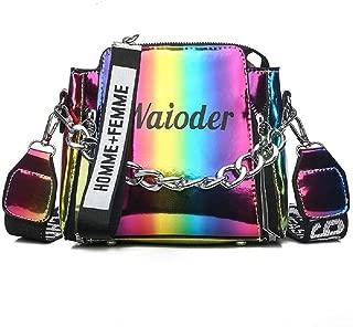 Women Girls Hologram Crossbody Bag PU Leather Messenger Bag Tote Handbag with Chain