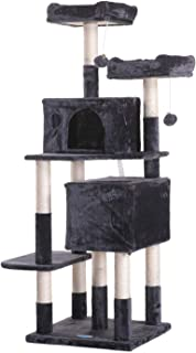 Hey-bro Large Multi-Level Cat Tree Condo Furniture with Sisal-Covered Scratching Posts, 2 Plush Condos, 2 Plush Perches, for Kittens, Cats and Pets