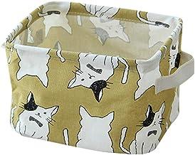Balai Desktop Storage Basket Cute Printing Waterproof Organizer Cotton Linen Sundries Storage Box Cabinet Underwear Storage Bag