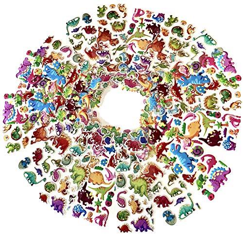 Egero 3D-Aufkleber mit Dinosaurier-Motiv (20 Bögen) + 480 wiederverwendbare Sticker für Kinder, Basteln, Scrapbooking